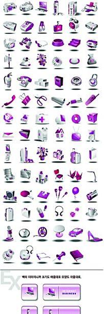 紫色办公医药生活立体图形图标