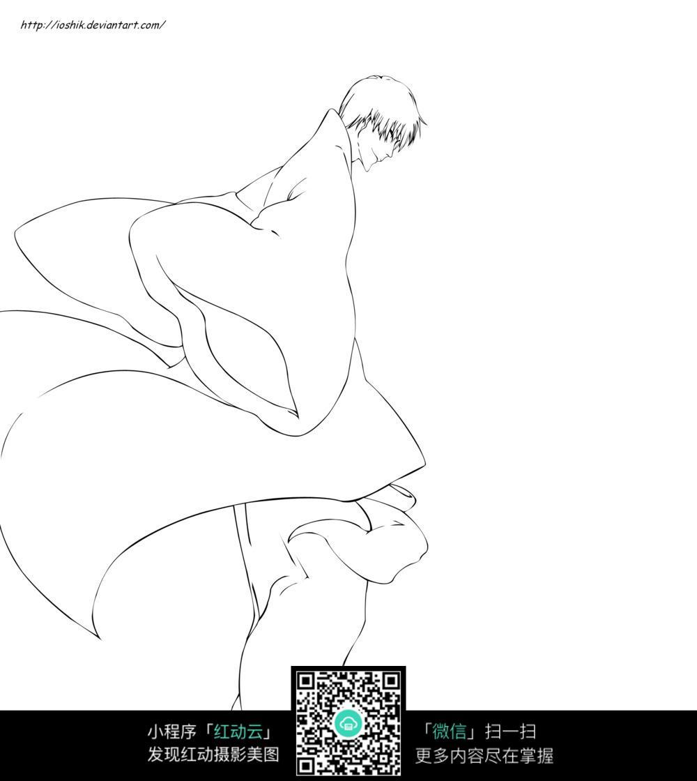 长袍男子卡通手绘线稿图片