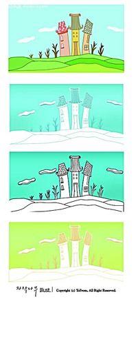 城堡蓝天白云手绘线描图