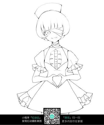 穿裙子的女孩卡通手绘线稿