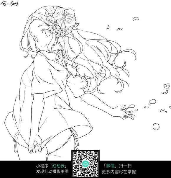 戴花的女孩卡通手绘线稿图片