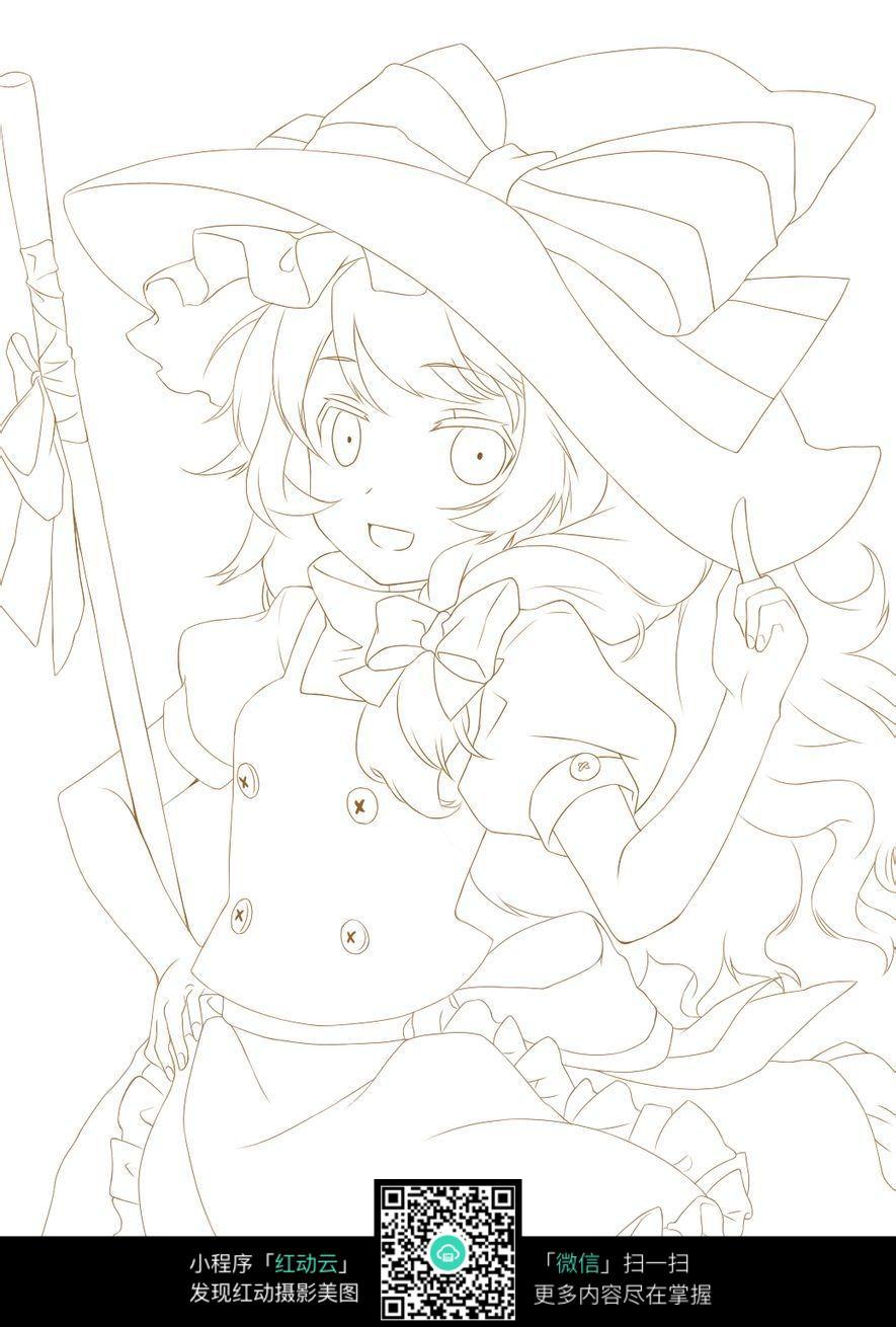 戴帽子的女孩卡通手绘线稿