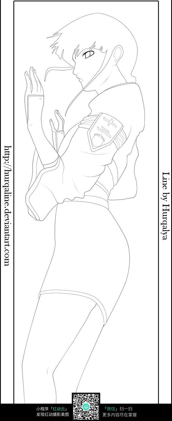 短发女孩卡通手绘线稿