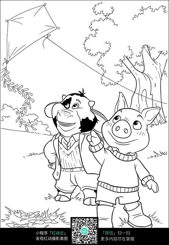 放风筝的卡通小猪图片免费下载 编号3728280 红动网图片