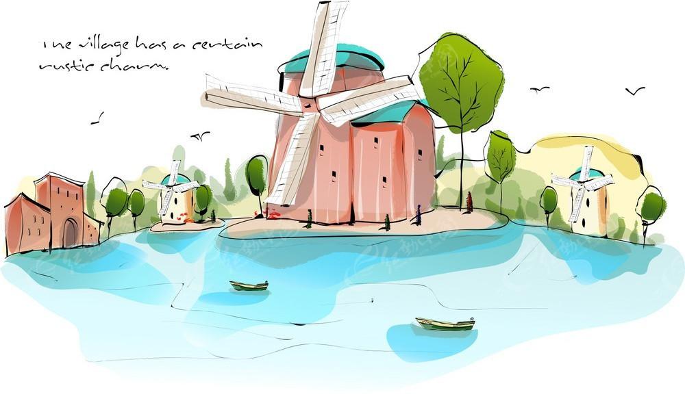 风车湖面小船手绘水彩画