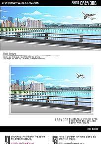 高层小区湖面飞机手绘背景画
