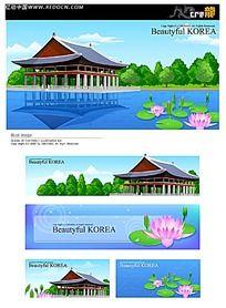 荷花湖面亭子手绘背景画