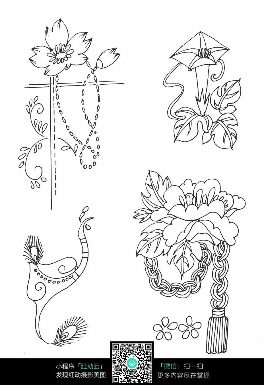 花草刺绣图案素材