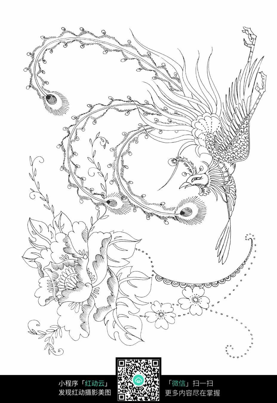花朵和凤凰刺绣图案素材