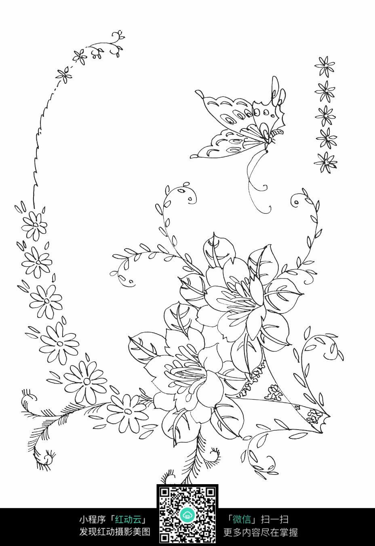 花朵和蝴蝶刺绣图案素材