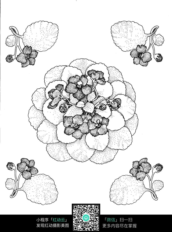 花朵和叶子刺绣图案素材