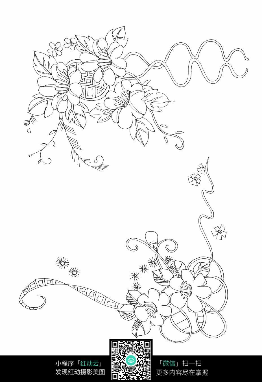 花朵花草刺绣图案素材_花纹花边图片_编号3681162