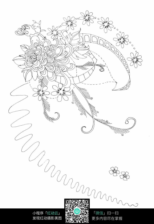花朵藤蔓刺绣图案素材_花纹花边图片