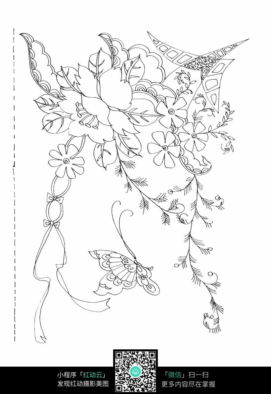 蝴蝶花朵刺绣图案素材