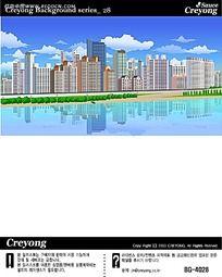 湖光美景小区建筑手绘背景画