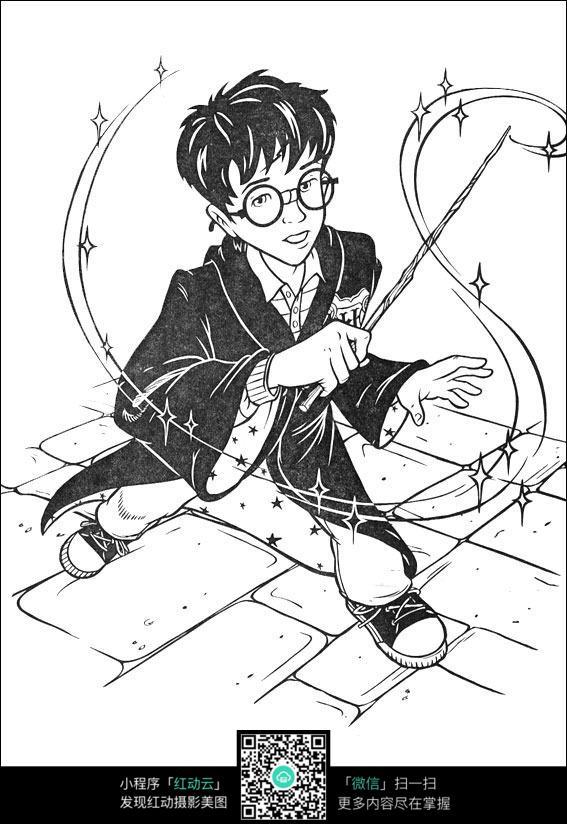 挥魔法棒的哈利波特