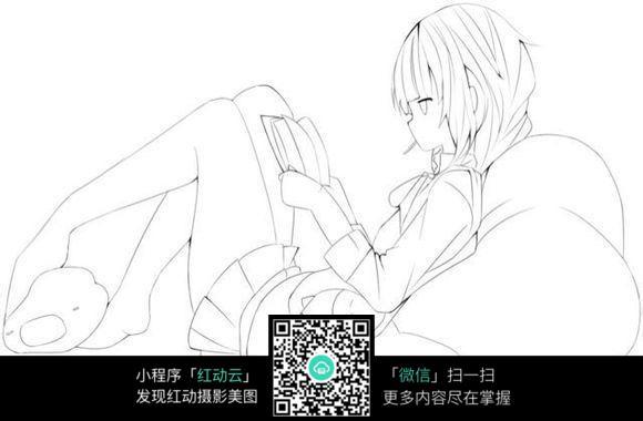 看书的女孩卡通手绘线稿_人物卡通图片_编号3681330