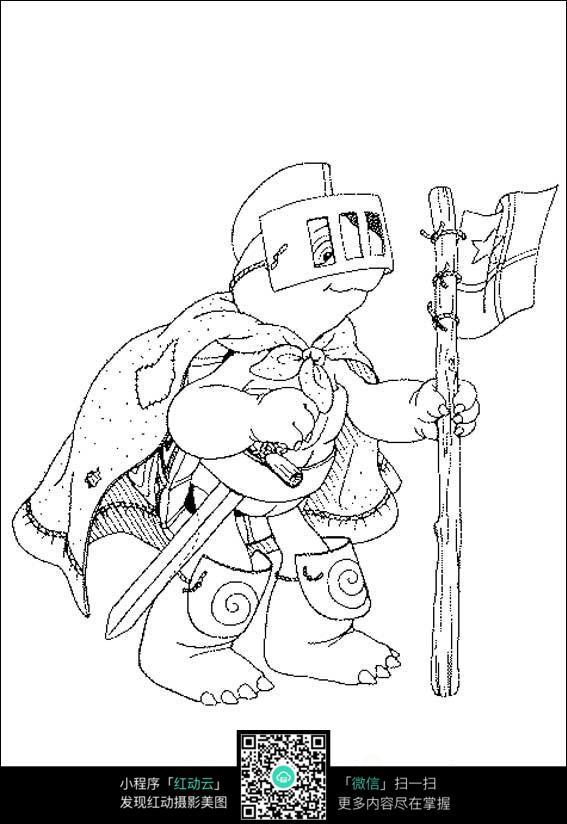 卡通忍者神龟线描