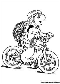 背包男子骑自行车漫画图片图片