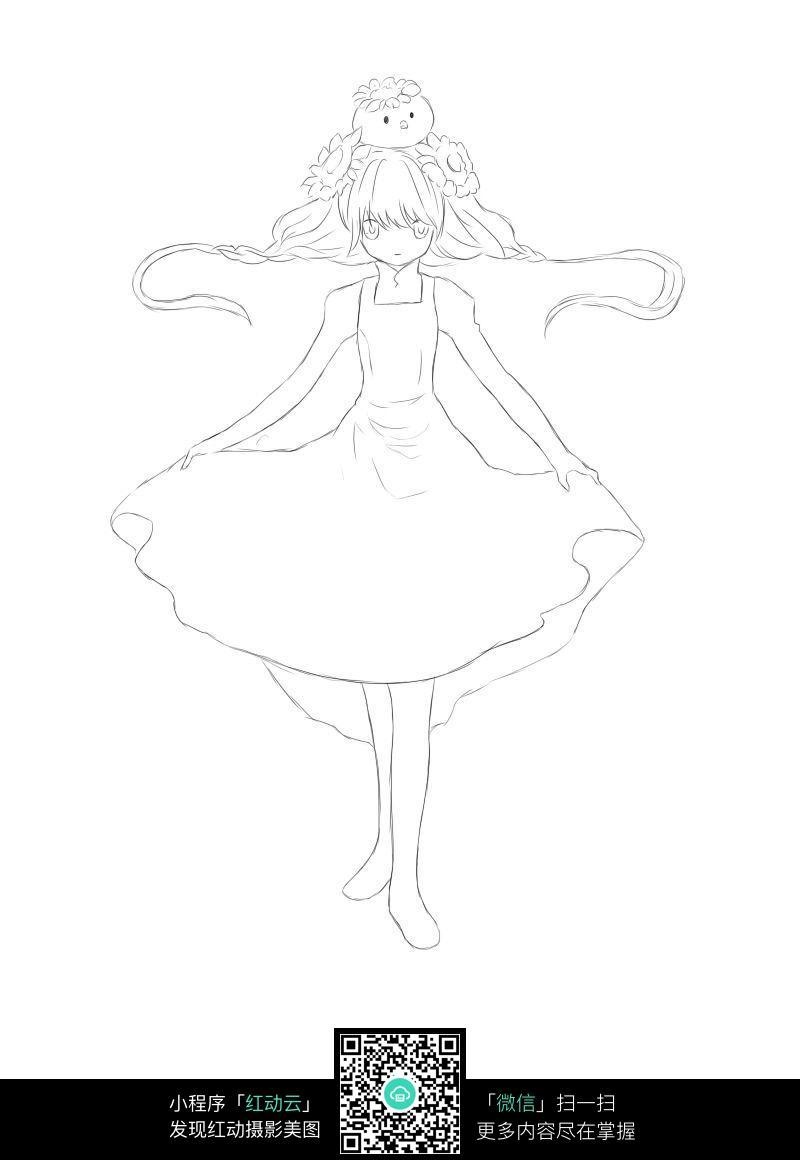 拉着裙子的女孩卡通手绘线稿
