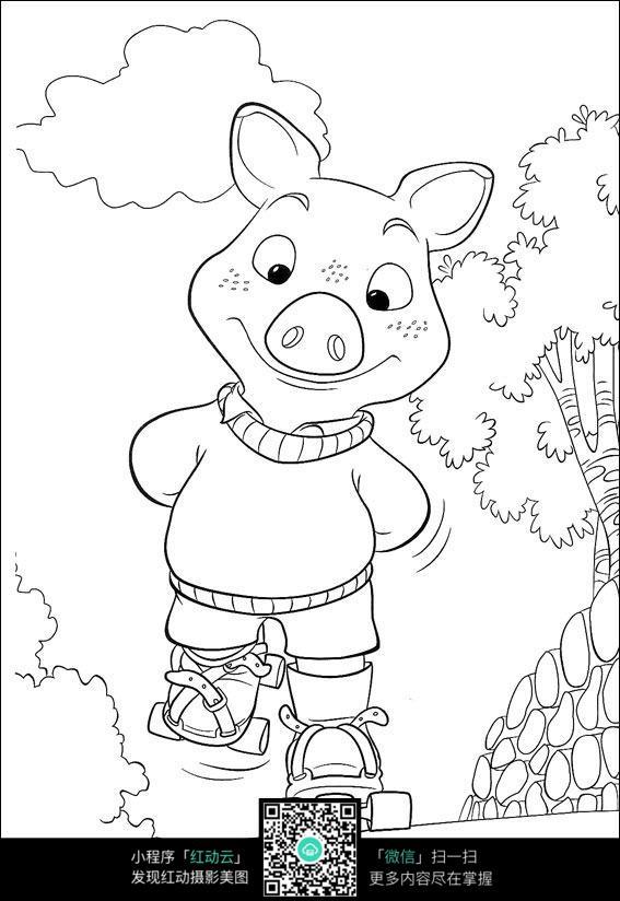 轮滑的猪手绘图片