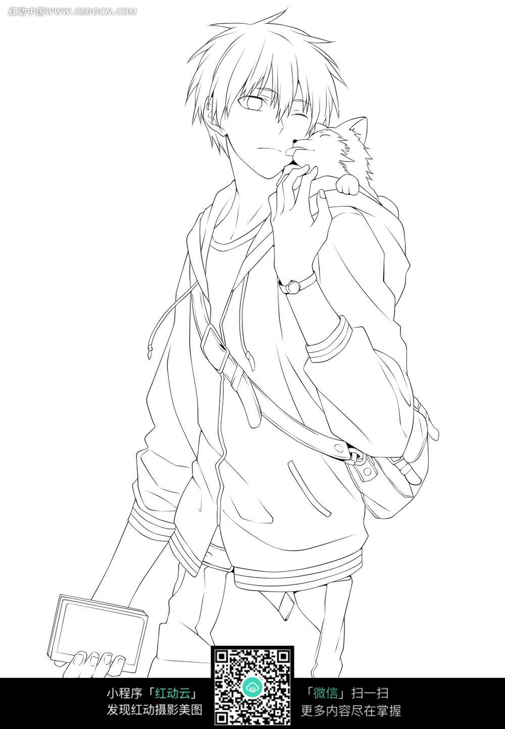 猫和男孩卡通手绘线稿