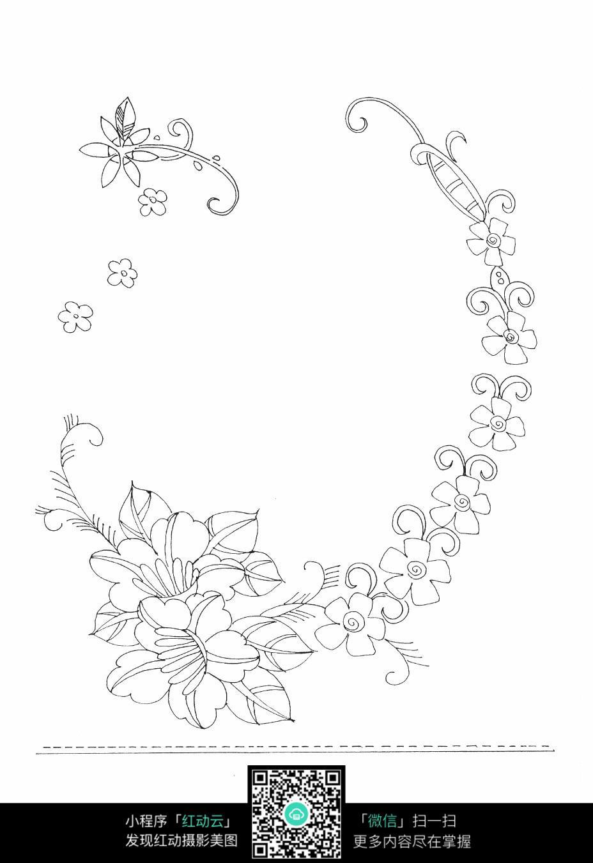 美丽花朵刺绣图案素材