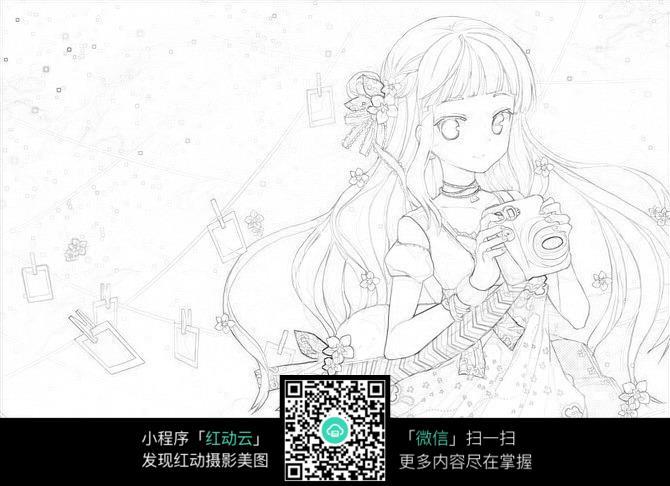 免费素材 图片素材 漫画插画 人物卡通 美丽女孩卡通手绘线稿  请您