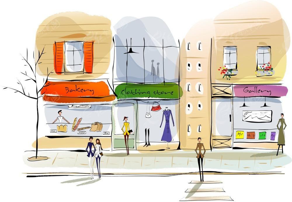 面包店服装店画廊手绘水彩画图片