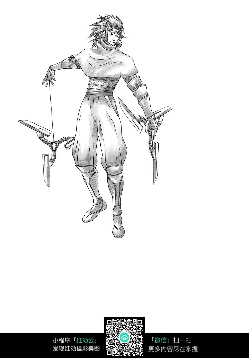 男子 武器 卡通 手绘线稿图片