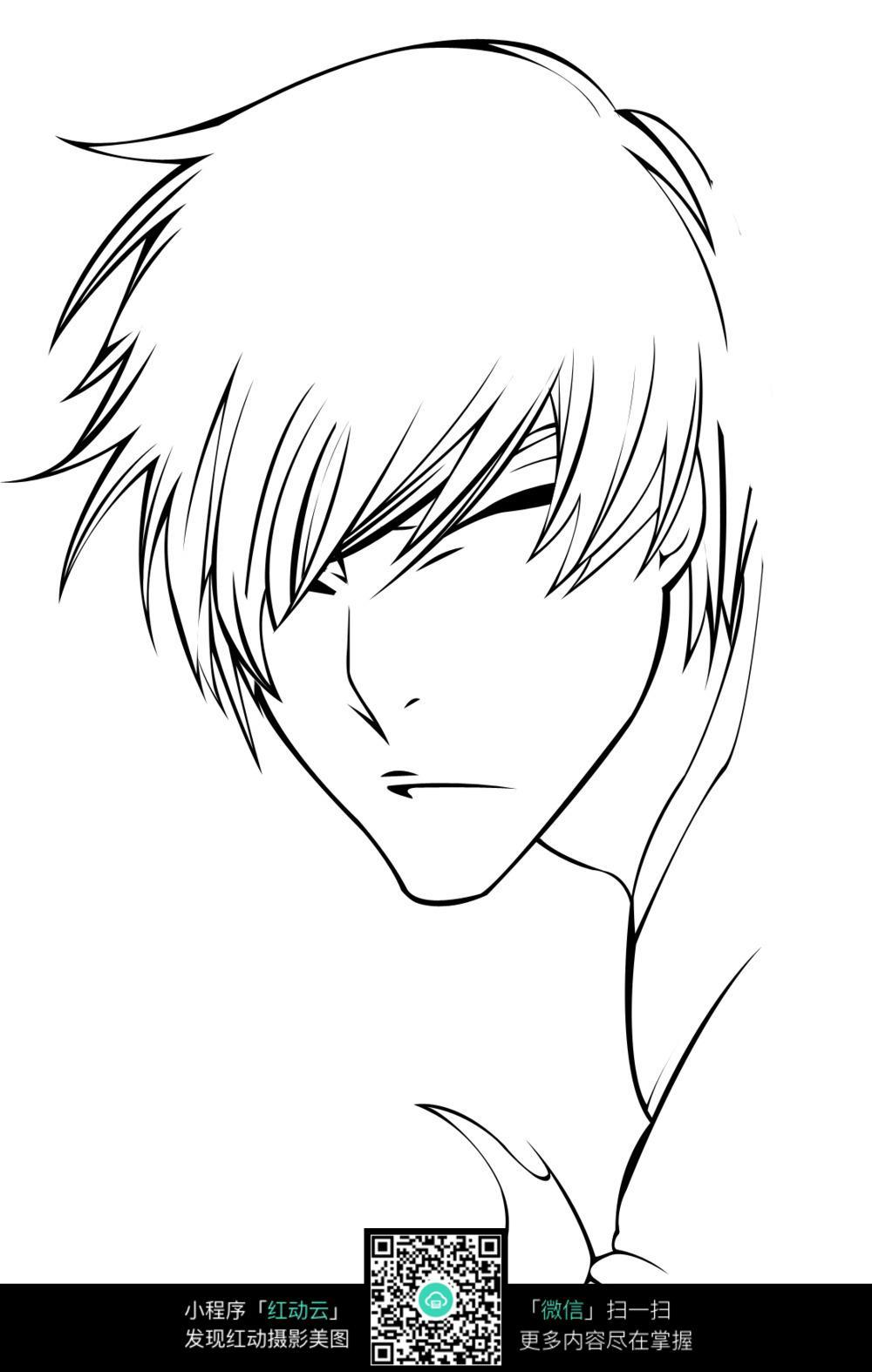 简笔画灯笼对称-男子头像卡通手绘线稿图片免费下载 编号3679472 红