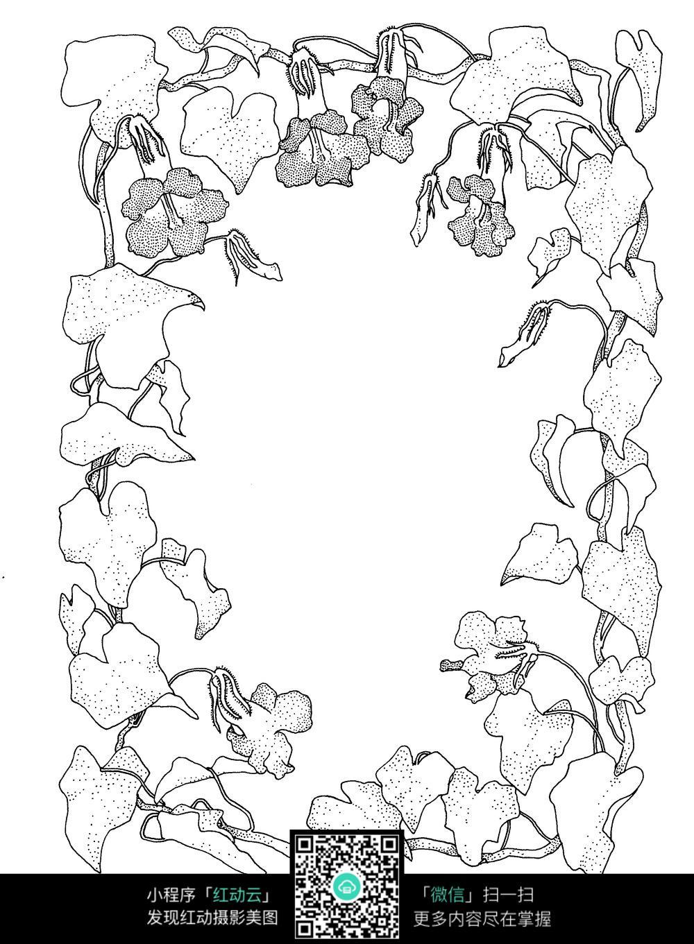 牵牛花刺绣图案素材