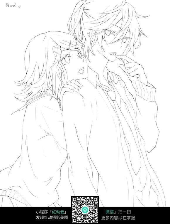 情侣卡通手绘线稿