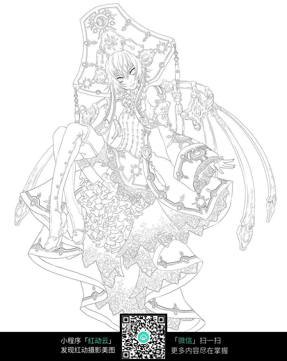 少女卡通手绘线稿图片