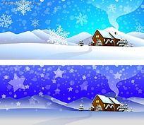 圣诞乡村雪景手绘背景画