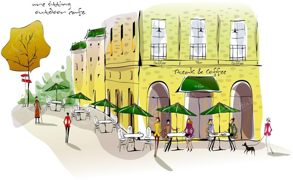 手绘水彩咖啡厅矢量模板