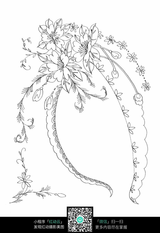 藤蔓和花朵刺绣图案素材图片