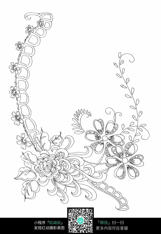 藤蔓与花朵刺绣图案素材图片