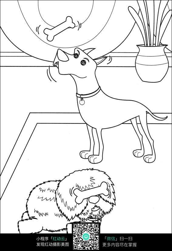 小狗吃骨头卡通线稿图片免费下载 编号3726886 红动网