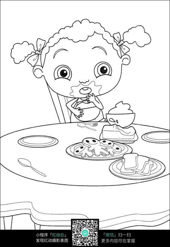 小女孩用手吃饭图片