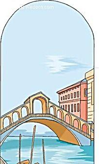 小桥流水小船房子背景画