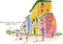 小区广场黄昏手绘水彩画