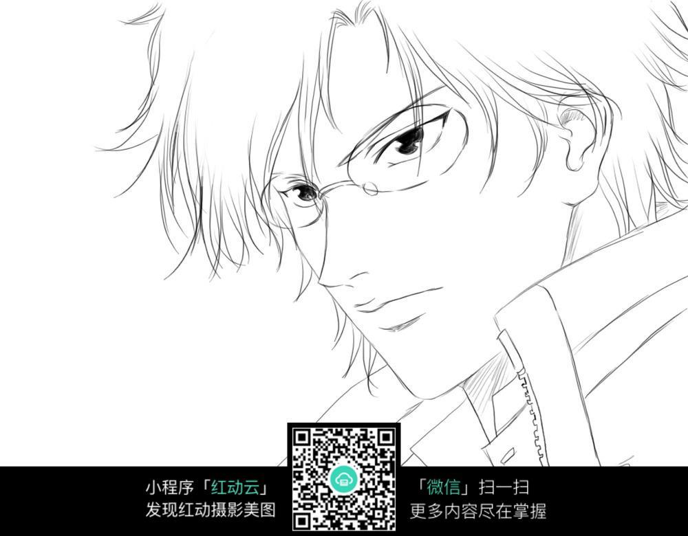 眼镜男子卡通手绘线稿