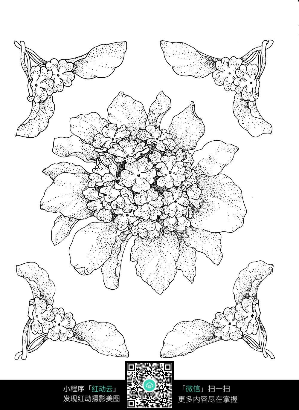 叶子和小花刺绣图案素材