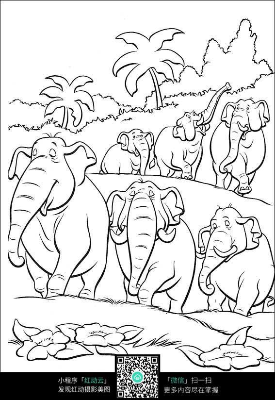 一群大象手绘