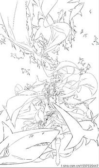 鲨鱼吃人线描图片_人物卡通图片