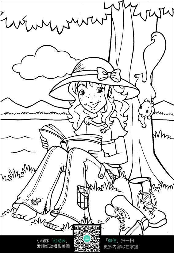 在树下看书的可爱女孩图片