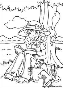在树下看书的卡通女孩图片 在树下看书的卡通女孩设计素材