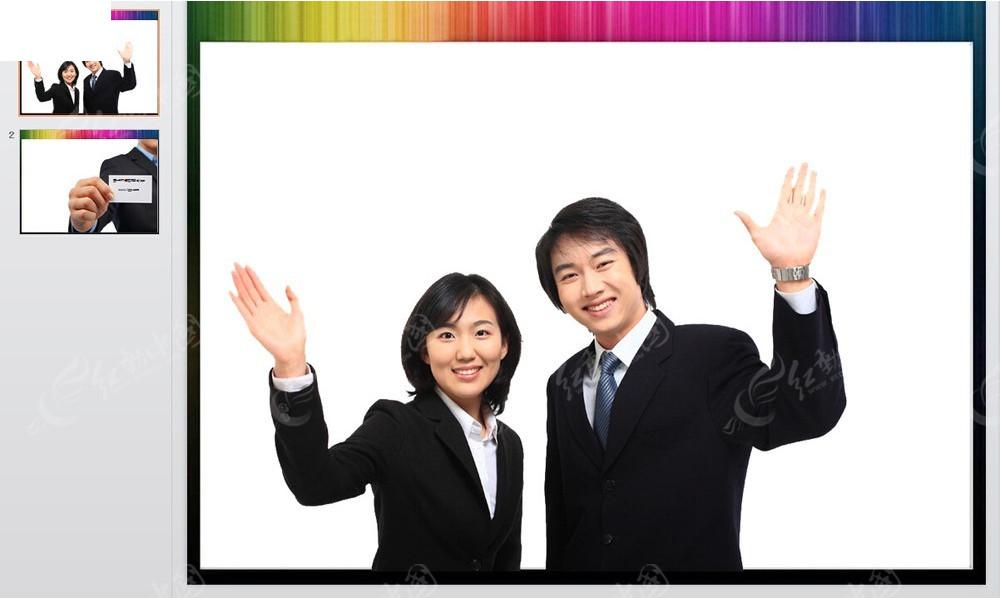 招手的职场人物图片背景ppt免费下载_企业商务素材