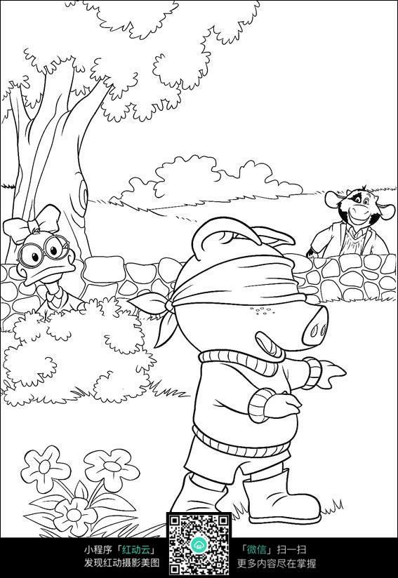 捉迷藏的卡通小动物图片